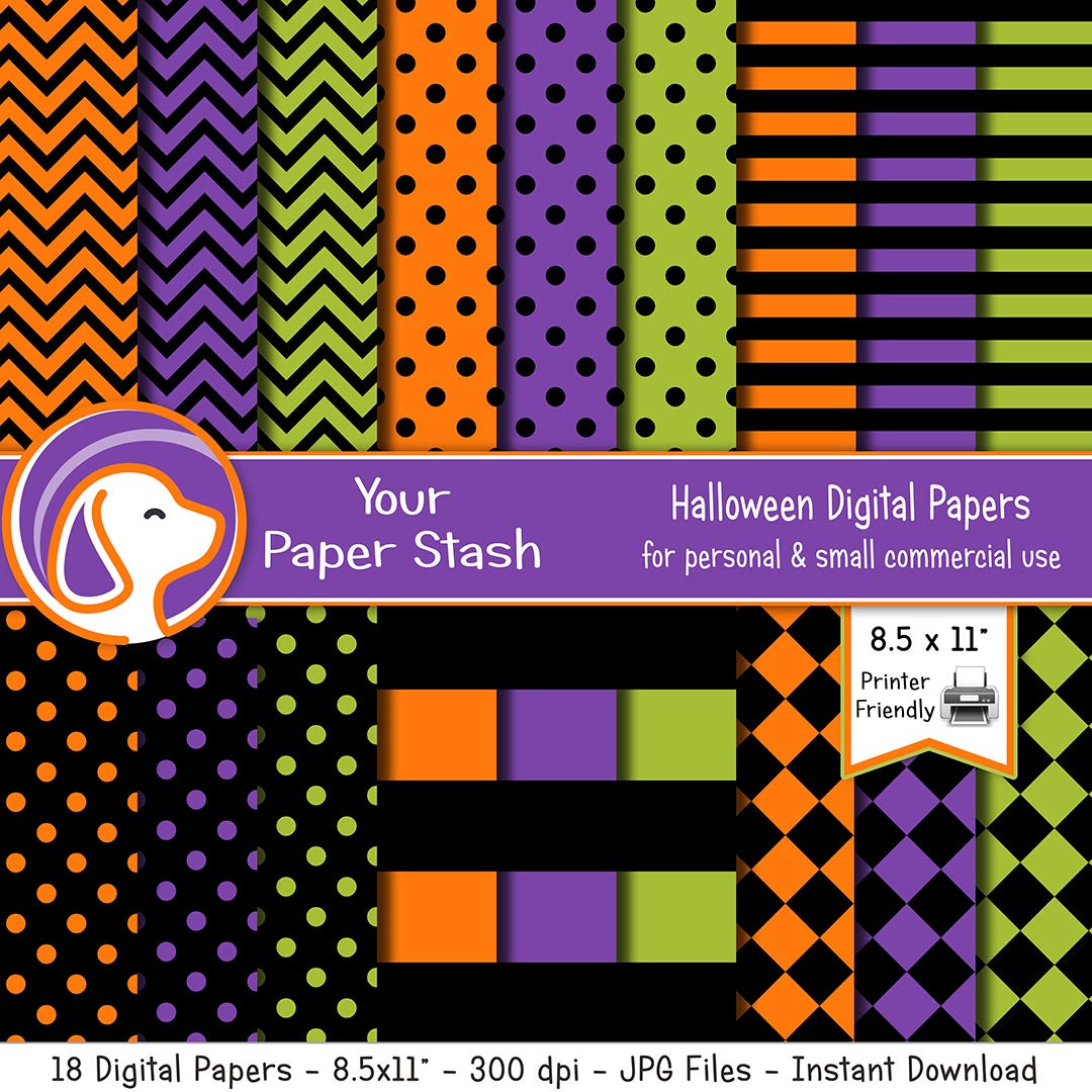 halloween digital papers and backgrounds orange purple green black