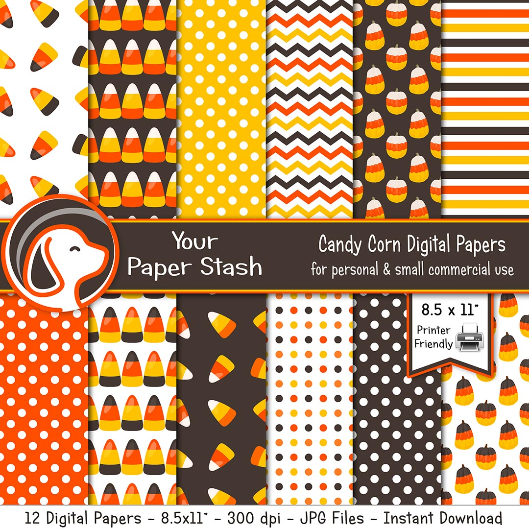 halloween candy corn thanksgiving fall digital scrapbook paper backgrounds printing kids craft project supplies