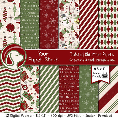 8.5x11 Textured Red & Green Christmas Digital Paper