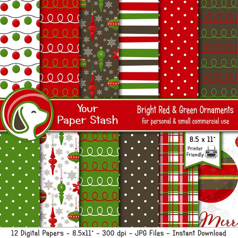 "8.5x11"" Traditional Red & Green Christmas Ornament Digital Paper Pack"