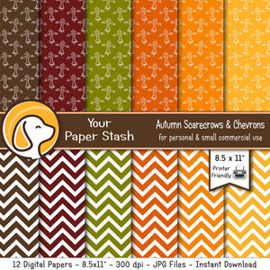 autumn pumpkin spice printable digital scrapbook paper scarecrows chevron thanksgiving halloween scrapbooking backgrounds