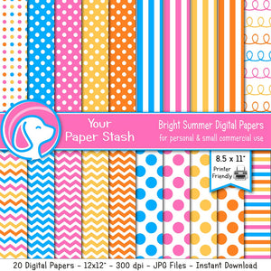 Bright Summer Digital Scrapbook Papers and Backgrounds for Birthday Parties and Pool Parties, Rainbow Stripe Polka Dot & Chevron Papers