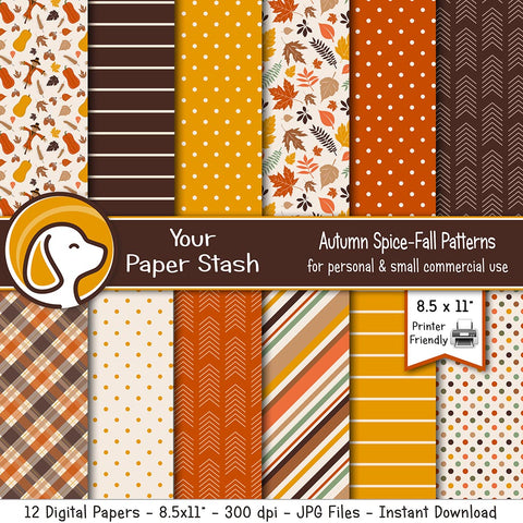 Halloween, Autumn, and Thanksgiving Digital Paper Pack