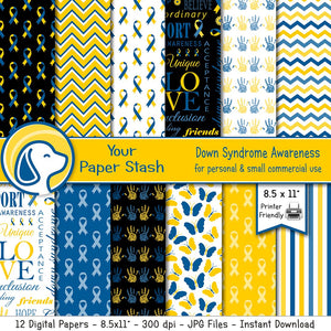 special education down syndrome autism awareness educational digital paper backgrounds scrapbook
