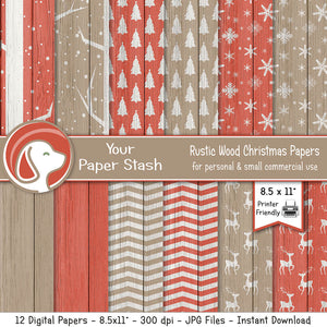 "8.5x11"" Rustic Christmas Wood Digital Papers & Backgrounds"