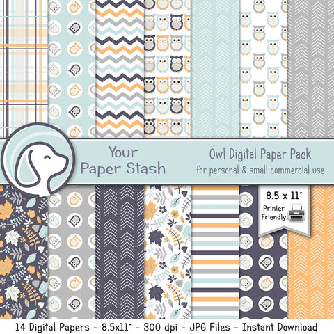 owl woodland arrow leaf leaves digital scrapbook paper baby shower gender reveal birthday scrapbook scrapbooking papers backgrounds digital art designs download