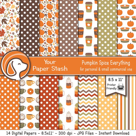 autumn pumpkin spice latte leaves pie thanksgiving fall halloween digital scrapbook paper backgrounds