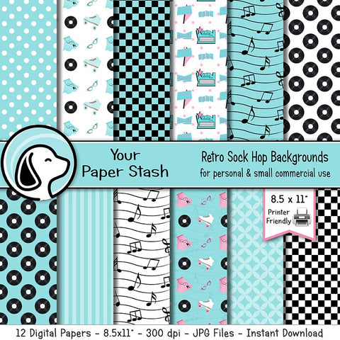 neon blue digital papers sock hop