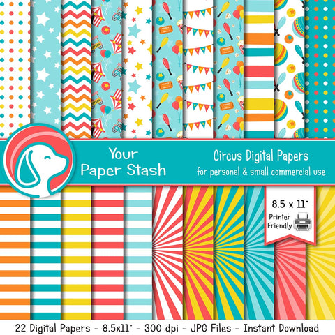 printable circus carnival digital paper illustration teachers classroom craft projects