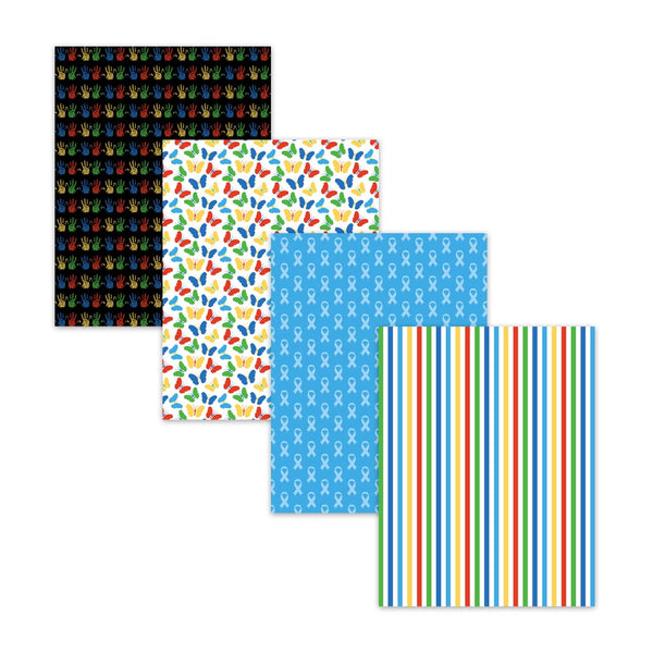 8.5x11 Autism Awareness Blue Ribbon Digital Scrapbook Papers Backgrounds