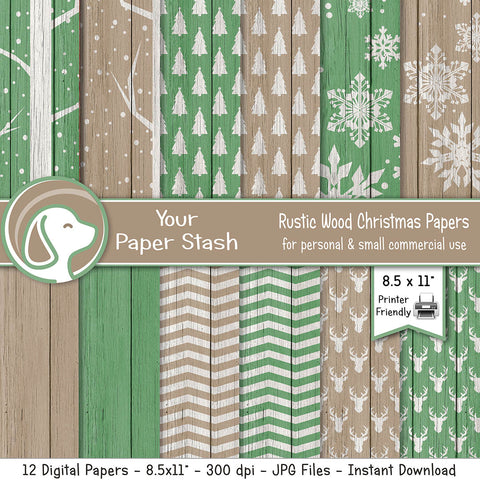 Rustic Christmas Wood Digital Paper Pack / Farmhouse Christmas