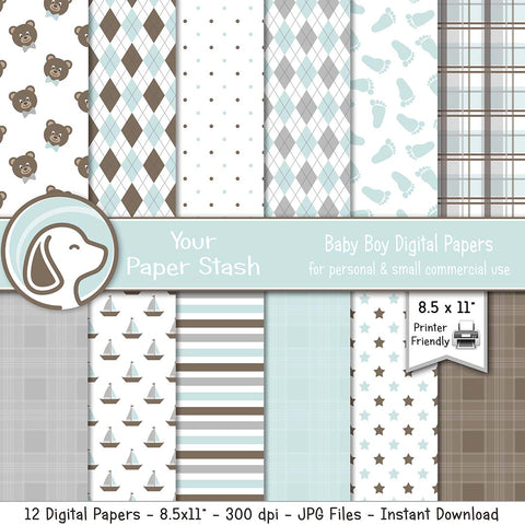 baby boy birthday gender reveal digital scrapbook paper pack baby shower scrapbooking papers