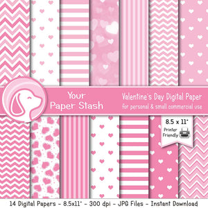 8.5x11 printable valentien's day stationery paper digital paper pack scrapbooking kids crafts card making hearts chevrons floating stripes