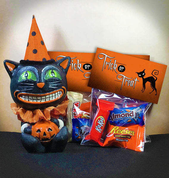 halloween trick or treat printable candy good favor bag toppers party supplies classroom fall festival party black cat kids halloween