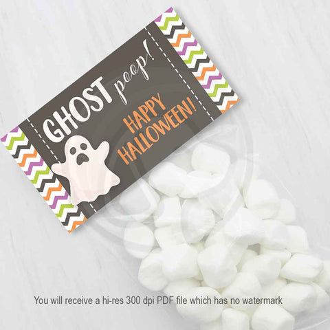 kids halloween fun ghost poop party favor bag topper printables chevrons
