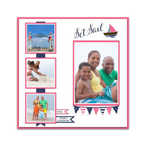 Nautical Premade Digital Scrapbook Page, Nautical Family Vacation Quick Page, Baby Girl Birthday Scrapbook Page, Instant Download