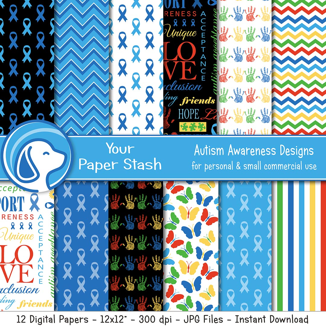 Autism Awareness Blue Ribbon Digital Scrapbook Papers and Backgrounds