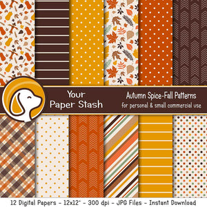 autumn pumpkin spice digital scrapbook paper fall leaves leaf patterns prints plaid tartan arrow stripe harvest gold burnt orange backgrounds