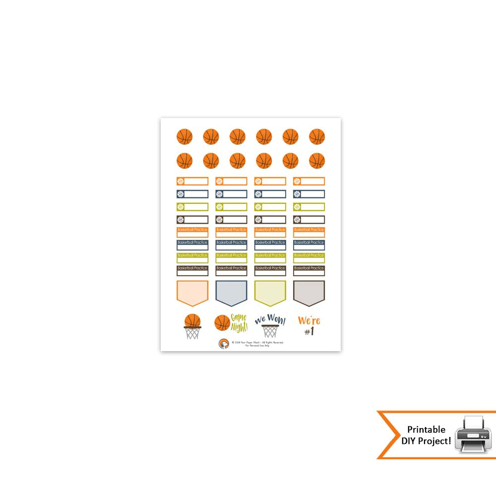 FREE Printable Basketball Themed Planner And Calendar Stickers