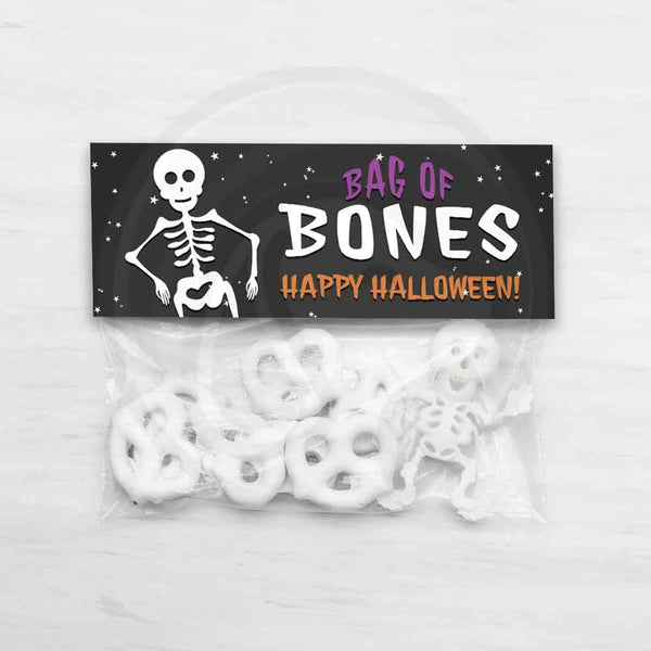 halloween trick trunk or treat candy skeleton bag of bones cute kids bag topper favor bags hallowene party