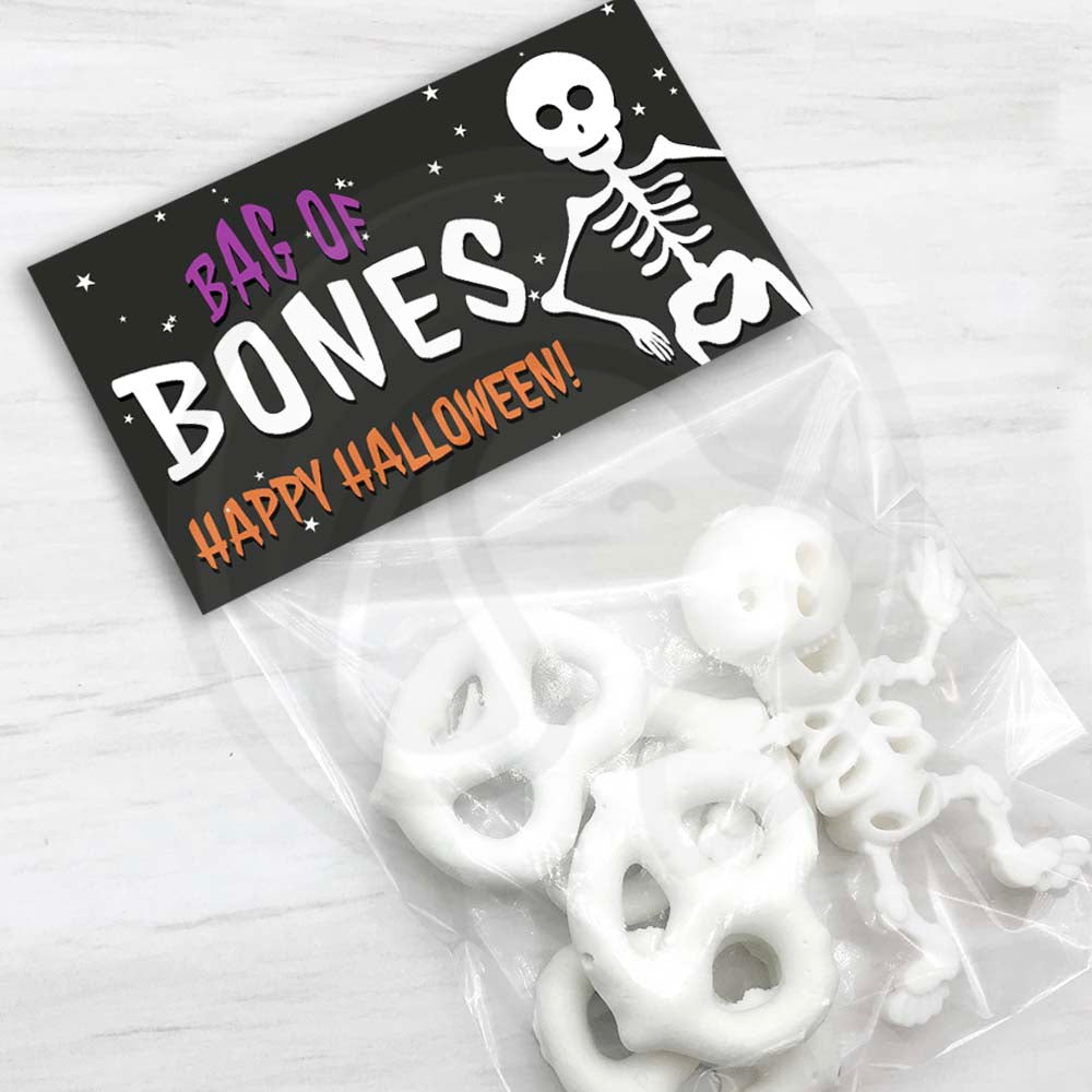 kids halloween skeleton bag of bones treat candy goody  bag toppers kids printable party decorations trick or treat trunk