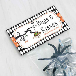 printable bugs and kisses halloween spider party decorations favor treat candy good bag toppers printable kids craft projects party decorations
