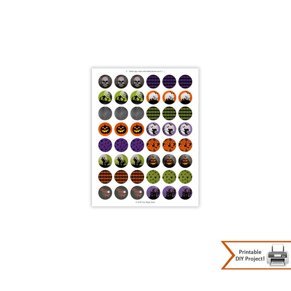 Halloween Bottle Cap Images for Buttons and Stickers