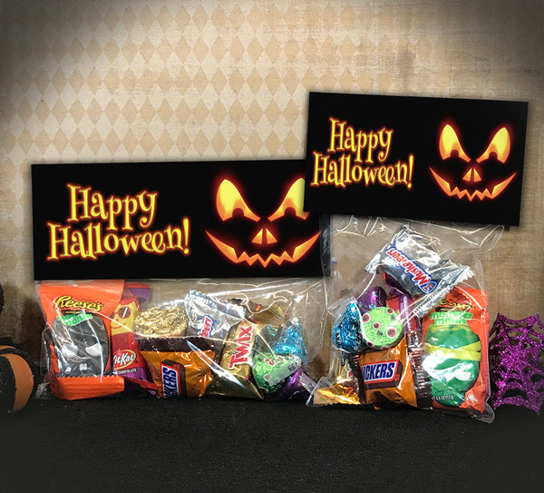 Printable Halloween Treat Bag Toppers, Pumpkin Candy Bag Topper
