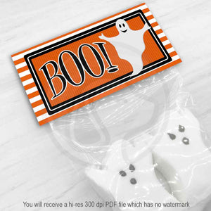 printable halloween boo ghost treat candy favor good bag topper party decorations supplies ideas