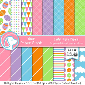 "8.5x11"" Bright Easter Digital Papers w/ Easter Egg and Cloud Backgrounds"