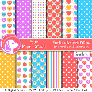 rainbow bright valentines day cookie digital scrapbook paper conversation hearts blue pink red purple yellow polka dot stripes digital scrapbooking papers instant download commercial use hugs kisses cookies