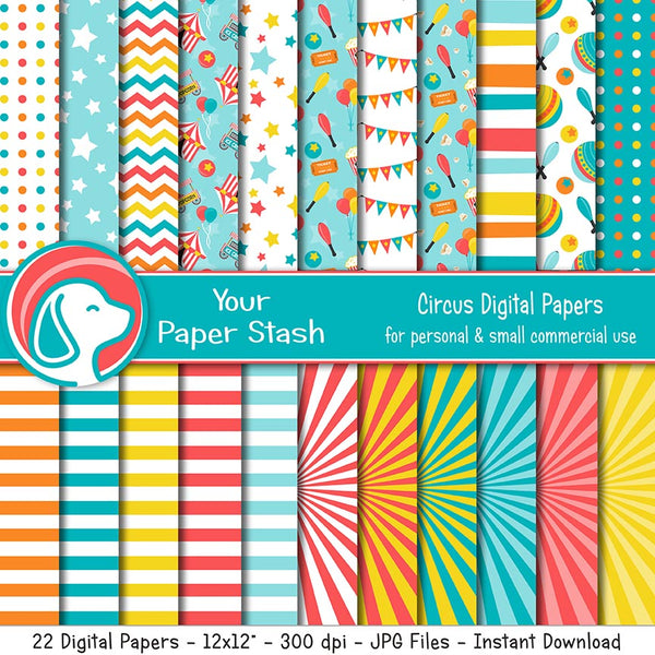 Circus Digital Scrapbook Papers and Backgrounds