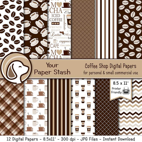 coffee lovers digital scrapbook paper coffee beans cups chevrons tartan stripes