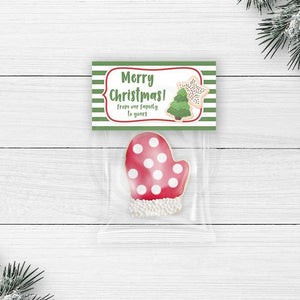 printable christmas cookie treat bag toppers favor goody candy bag topper party decorations supplies diy