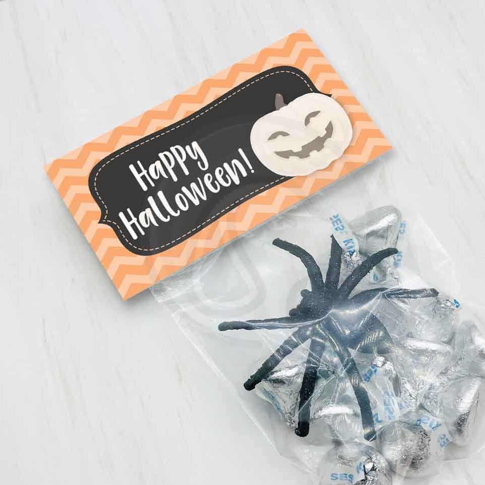 happy halloween pumpkin jack o lantern treat candy goody bag toppers printable halloween party favor bags bugs and kisses