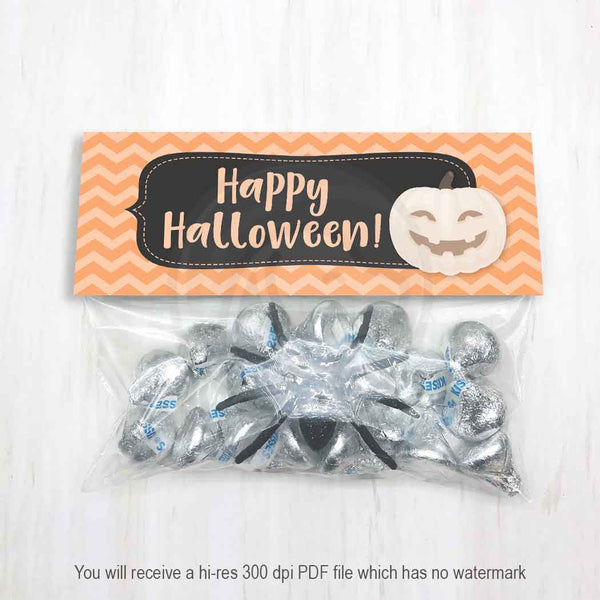 printable halloween kids party favor bags treat candy good bag toppers pumpkin