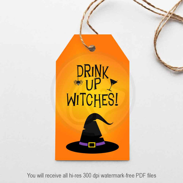 drink up witches printable gift tags bag toppers feeling witchy halloween party printable tags ideas supplies crafting scrapbooking card making paper crafts