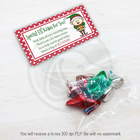 christmas elf kisses printable candy goody treat bag toppers holiday party bags