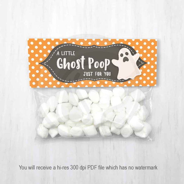 printable halloween host party favor bags for marshmallow ghost poop kids halloween fun