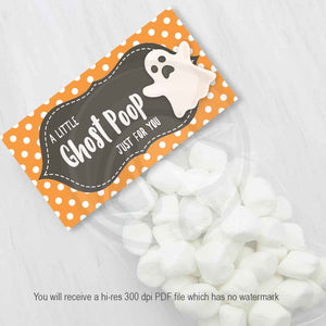 halloween ghost poop treat candy favor bag printable toppers party favors