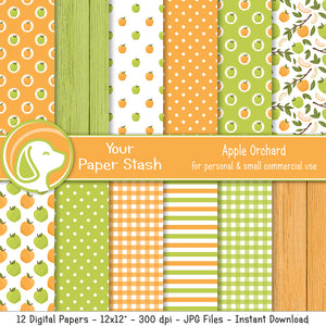 Summer Apple Digital Scrapbook Papers & Patterns, Fruit Themed Digital Paper Pack, Instant Download Papers