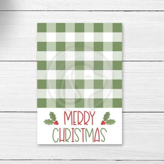 green merry christmas buffalo check farmhouse christmas cookie cards printables download