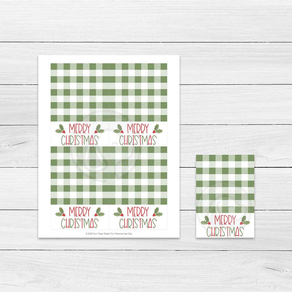 farmhouse christmas cookie cards baking supply supplies party favor treat bag topper printable