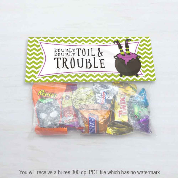 halloween witch double toil trouble treat candy bag topper for classroom party printable kids project