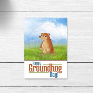 groundhog ground hog printable cookie card note cards large gift tags kids fun printable item for classroom party instant download