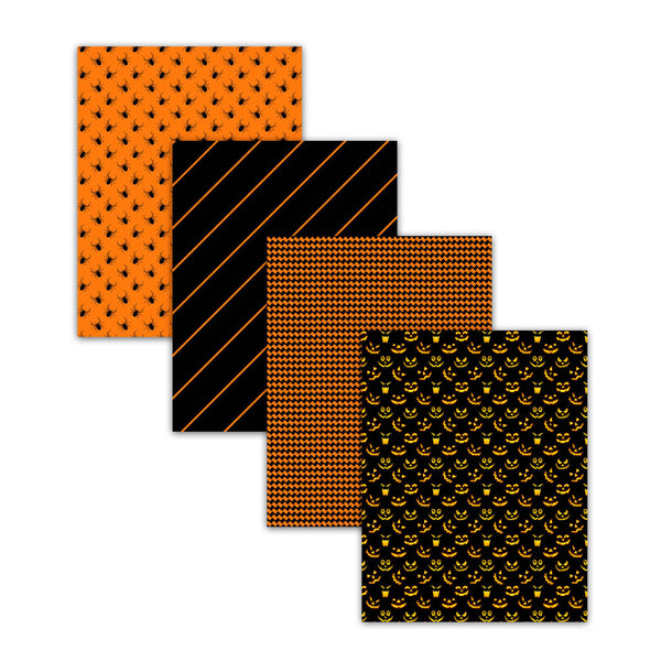 8.5x11 Orange And Black Halloween Scrapbook Paper
