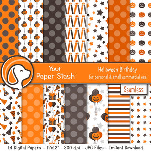 HALLOWEEN birthday balloon digital scrapbook paper background scrapbooking cardmaking special birthday pumpkin baby