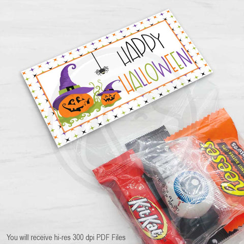 happy halloween pumpkin treat candy favor bag toppers printable kids halloween party favors supplies your paper stash