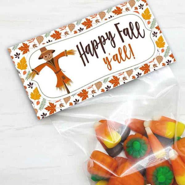 printable happy fall y'all thanksgiving autumn halloween treat candy goody favor bag toppers