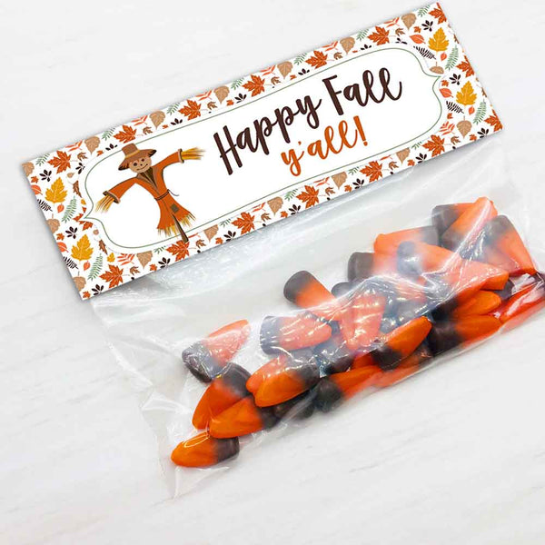 halloween autumn fall festival bake sale thanksgiving scarecrow treat candy goody bag toppers diy party favor bags